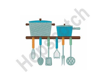 Cooking Pots And Utensils - Machine Embroidery Design