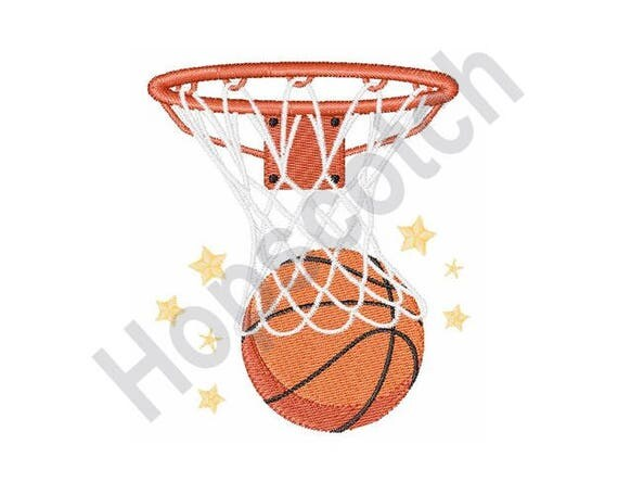 Basketball hoop machine embroidery design