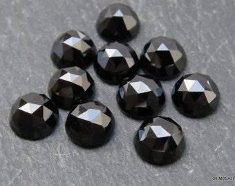 10 pieces 6mm Black Onyx Rose Cut Round gemstone, 6mm Black Onyx RoseCut cabochon round Gemstone, Black Onyx Faceted Rose Cut Round Cabochon