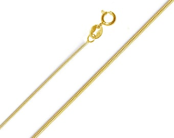 "18k Yellow Gold Filled Snake Necklace Chain, Pendant Chain 16"" 18"" 20"" 22"" 24"" 26"""