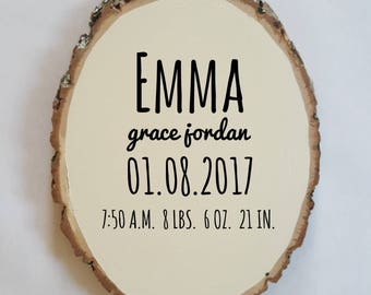 Baby birth plaque etsy woodland nursery decor newborn birth stats personalized baby gift baby shower round negle Image collections