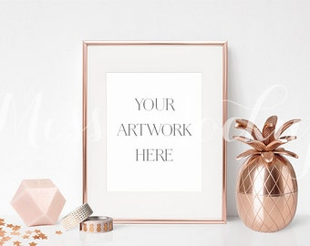 8x10 digital rose gold frame mockup portrait stock photo styled photography mock up prints illustration instant download