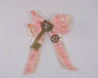 Pink and Ivory Steampunk Hair Bow