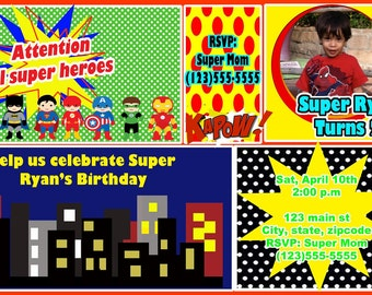 super hero comic invitation