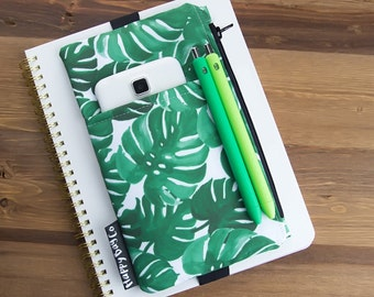 Palm Planner Cover - Planner Pocket - Planner Zipper Pouch - Planner Bag - Planner Storage - Daily Planner Pouch - Palm Trees #14