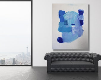 "Large, 54"" x 40"", Blue Original Abstract Painting / Modern Art / Contemporary Art / Blue Art / Blue Painting / XL Painting"