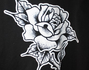 TATTOO inspired black graphic white rose tee size L