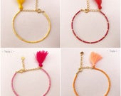 Adjustable bracelet TROPICAL Golden Miyuki pearls and color choice
