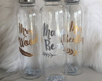LABEL ONLY - Personalise your own custom drink bottle. Teachers/bridesmaid/christmas gift idea!