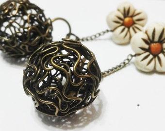 Flower Earrings Earrings flower fimo metal bronze sphere-sphere and