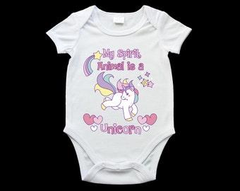 Unicorn baby onesie, cute baby unicorn onesie, unicorn gift, personalised onesie, My spirit animal is a unicorn