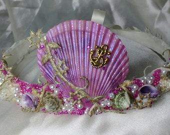 Mermaid crown, pink shell crown, sea shell crown, beach wedding crown, sea queen crown, sea siren, sea princess, sea maiden, OOAK, UK