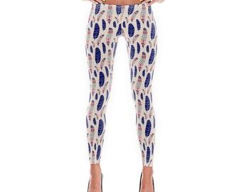 Leggings, Womens Leggings, Yoga Pants, Feather Print Leggings, Bohemian, Tribal Print