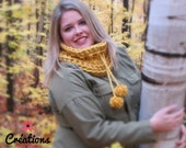 IN STOCK Mega Bulky cowl for women, winter cowl with pompoms, wool, acrylic, adult cowl, women accessory, winter fashion, adjustable, yellow