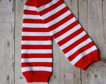 Red and White striped leg warmers Baby Boy Leg Warmers Circus Boy Leg Warmers