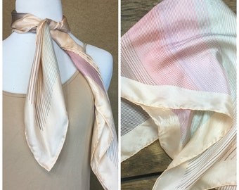 Vintage Silk ECHO Scarf with Stripes