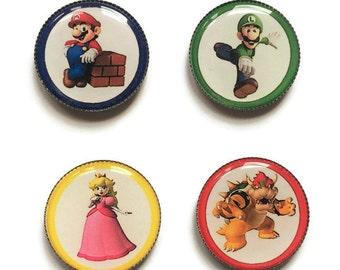 Super Mario magnets or Super Mario pins, Mario, Luigi, Peach, Bowser, Nintendo magnets, Nintendo pins