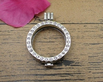 1 Round Locket Pendant With Crystals Rhinestones,Openable Pendant(Surface without glass)-TS055