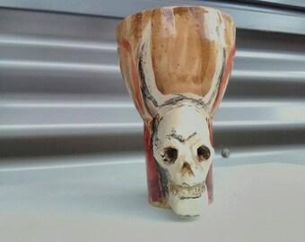 Demon Skull - Altar Cup - Handmade Ceramic