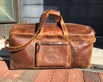 Buffalo Leather Brown Travel Duffel