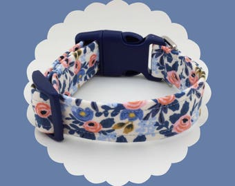 Rifle Paper Co. Blue & Pink Roses Dog or Puppy Collar