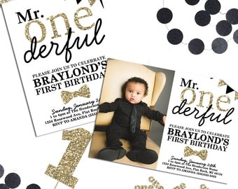 1st Birthday Invitations, Mr Onederful Invitation, Mr Onederful Birthday Theme, Mr Onederful Black and Gold, Printable Birthday Invitation