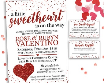 A Little Sweetheart is on the Way, Valentine Baby Shower Invitation, Printable Valentines Day Baby Shower Invitation Set