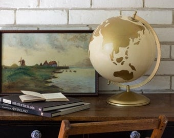 Hand painted 12 inch Globe in Gold and Cream