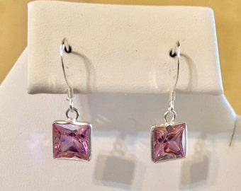 Sterling Silver Pink CZ Earrings