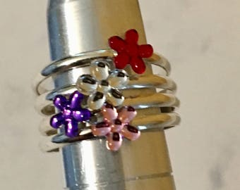 USA FREE Shipping!! That NATION Band Sterling Silver Flower Power Toe Rings- 4 choices