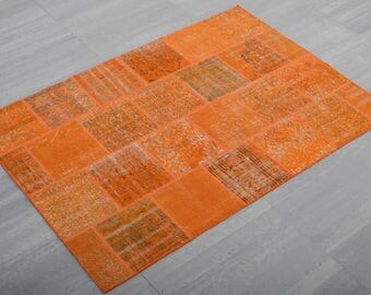 Turkish Patchwork ,Rug ,Carpet ,Anatolian Patchwork,wool,Orange rug-Handmade,170x240=4.08 m2, 6x8 ft