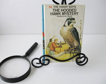Hardy Boys Book #34, Vintage Hardy Boys Books The Hooded Hawk Mystery by Franklin W. Dixon, Mystery Books For Teens Tweens 1960s, Book Decor