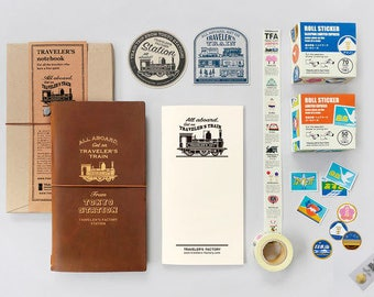 Traveler's Notebook Station Edition Tokyo Limited Leather Cover,Brass Tag,Masking Tape,Sticker,Roll Seal x 2 , 6set Sale Don't Miss!Sale