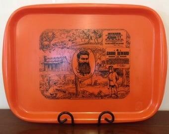 Vintage 70's Funky Retro 'Ned Kelly' Plastic Tray by Shannon Designs Australia Tangerine & Black 'Last Stand at Glenrowan' Plastic Tray