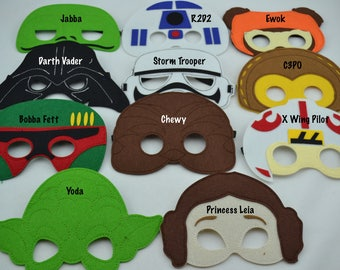 Star Wars Felt Mask - Birthday Party Favor. Great for Kids Boy Girl Child Toddler Superhero Costume Outfit. Yoda Chewy C3PO R2D2 Ewok