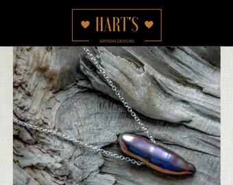 Black Stick Pearl Solitaire Argentium Silver Pendant Necklace