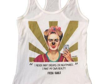 Frida Kahlo Dog Selfie White Womens Tank Top