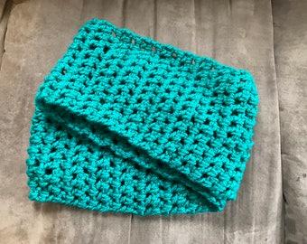 Bulky teal infinity scarf