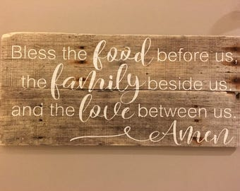 Bless the food before us the family beside us and the love between us Amen, dining room decor, kitchen decor, pallet signs, wood sign