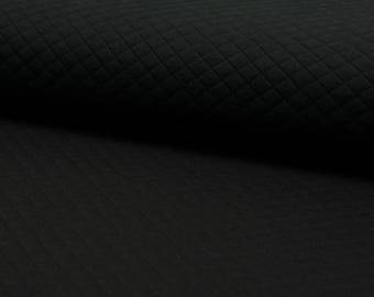 Quilted Jersey black quilt fabric by the metre small diamonds 0, 50 m