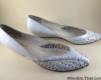 Size 10 Woven Pointed Toe White Leather Flats Bruno Valenti Shoes Made in Brazil