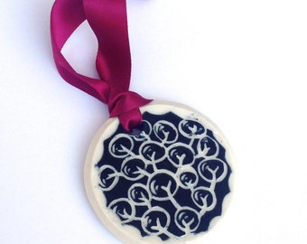 Zentangle Ornament - Home Decoration, hand carved porcelain