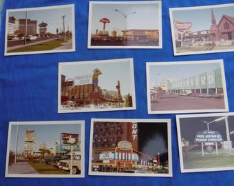 Lot of 8 Vintage Downtown Las Vegas Photo's Casino Photo's etc from the 1960's Repurpose Collectible Flamingo Riviera
