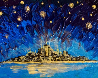 Tribute to Van Gogh - Starry Night Painting Skyline