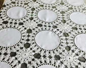"Tablecloth 66"" by 41"", crochet tablecloth, crocheted tablecloth, rectangular crochet tablecloth, white tablecloth, 100 % handmade"
