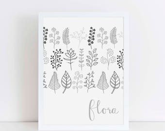 Flora wall art, plant print, botanical poster, home decor, wall art, kitchen plant print