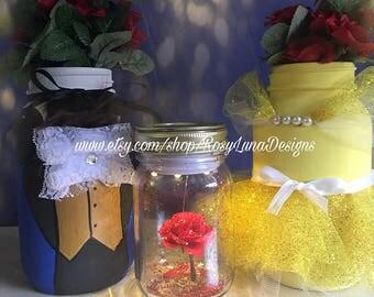 Beauty and the Beast mason jar set, La Belle et la Bête, fairy tale inspired, birthday party centerpiece, room decor