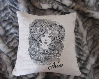 "Decorative cream chenille embroidered handmade cushion cover home decor 16 x 16"" exclusive design  art Aries zodiac gift boho style"