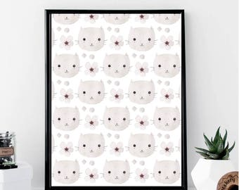 Watercolor Cat Print // Minimalist // Wall Art // Office DIY // Scandinavian // Modern Office // Fashion Poster // Watercolor // Modern