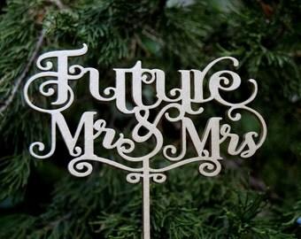 Engagement topper, Cake Topper, Futere Mr Mrs Cake - Bridal Shower - Wedding Gift, Champagne gold cake